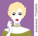beautiful blonde woman biting...   Shutterstock .eps vector #772228534