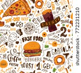 fast food seamless pattern in... | Shutterstock .eps vector #772231210