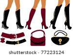 women's footwear and handbag | Shutterstock .eps vector #77223124