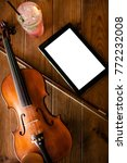 Small photo of e-business musical instrument advertisement. violin teaching online classess concept