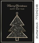 christmas tree with line icons... | Shutterstock .eps vector #772242148