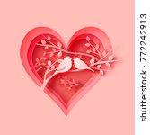 3d abstract paper cut... | Shutterstock .eps vector #772242913