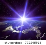 sunrise and stars. the elements ... | Shutterstock . vector #772245916
