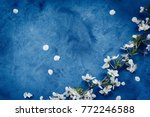 white apricot spring flowers on ... | Shutterstock . vector #772246588