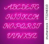glowing purple neon script font ... | Shutterstock .eps vector #772248310