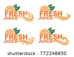 collection of colorful orange... | Shutterstock .eps vector #772248850
