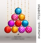christmas tree made of hanging... | Shutterstock .eps vector #772248964