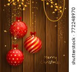 christmas card with red balls ...   Shutterstock .eps vector #772248970