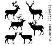 set of silhouettes deer. vector ... | Shutterstock .eps vector #772249573