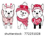 Stock vector cute vector dogs in winter clothes fashion french bulldog and pomeranian spitz puppy stylish 772251028