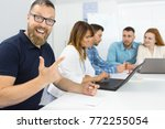 excited mature bearded... | Shutterstock . vector #772255054