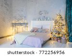 christmas living room with a... | Shutterstock . vector #772256956