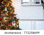 christmas tree in christmas... | Shutterstock . vector #772258699
