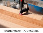 Clamped pieces of wood with c...