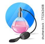 vintage glass perfume bottle... | Shutterstock .eps vector #772262608
