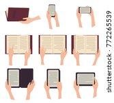 woman holding e book tablet... | Shutterstock .eps vector #772265539