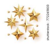Realistic Golden Stars Vector...