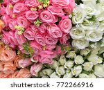 artificial rose decoration ...   Shutterstock . vector #772266916