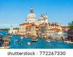 grand canal with tourist boats... | Shutterstock . vector #772267330