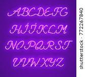 glowing purple neon script font ... | Shutterstock .eps vector #772267840