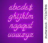 glowing purple neon script font ... | Shutterstock .eps vector #772267846