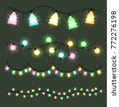 set of christmas color garlands ... | Shutterstock .eps vector #772276198