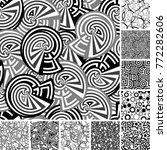 retro black and white seamless... | Shutterstock .eps vector #772282606