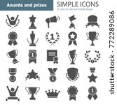 awards and prizes simple icons... | Shutterstock .eps vector #772289086