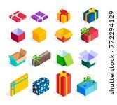 set of isometric gift boxes... | Shutterstock .eps vector #772294129