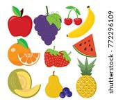 cute bright colors of fruits...   Shutterstock .eps vector #772296109