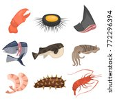 seafood flat icon set | Shutterstock .eps vector #772296394