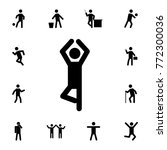 yoga silhouette man icon. set... | Shutterstock .eps vector #772300036