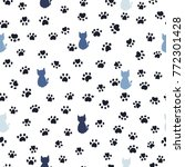 cats and paw print seamless...   Shutterstock .eps vector #772301428