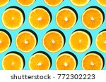 sliced orange arranged in... | Shutterstock . vector #772302223