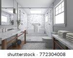 3d rendering modern minimal... | Shutterstock . vector #772304008