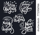 set of lettering messages merry ... | Shutterstock .eps vector #772306966