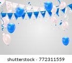 blue white balloons  confetti... | Shutterstock .eps vector #772311559