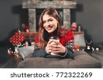merry christmas and happy... | Shutterstock . vector #772322269