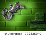 Green Wall Texture With Squirrel