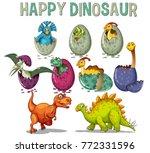 happy dinosaur with dinosaurs... | Shutterstock .eps vector #772331596