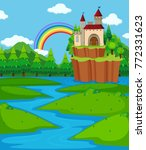 background scene with castle... | Shutterstock .eps vector #772331623