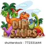 dinosaur world design with many ... | Shutterstock .eps vector #772331644