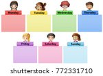 happy children and seven days... | Shutterstock .eps vector #772331710