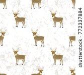 christmas pattern with deers....   Shutterstock . vector #772337884