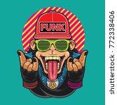 funky monkey vector... | Shutterstock .eps vector #772338406