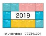 2019 calendar planner design. | Shutterstock .eps vector #772341304