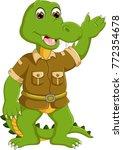 cute crocodile cartoon standing ... | Shutterstock .eps vector #772354678