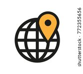 location on globe. map pin icon.... | Shutterstock .eps vector #772355656