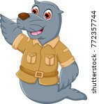 cute seals cartoon standing... | Shutterstock .eps vector #772357744