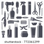 set of hairdressing accessories ... | Shutterstock .eps vector #772361299